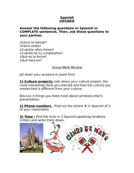 Spanish group activity-Beginner Spanish Questions