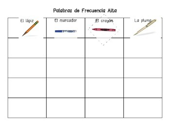 Spanish high frequency word practice