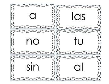 Spanish high frequency words Bingo