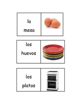 Spanish house vocabulary - picture and word matching dominoes