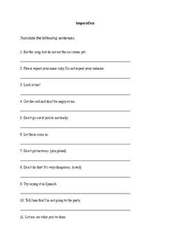 Spanish imperative- translation exercise, homework, revision, classroom activity