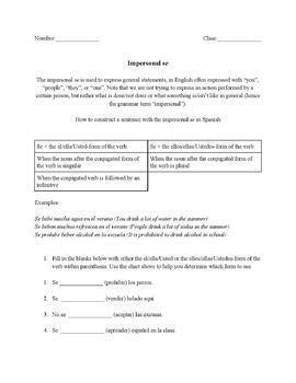 Spanish impersonal se bundle 3 fun no prep worksheets