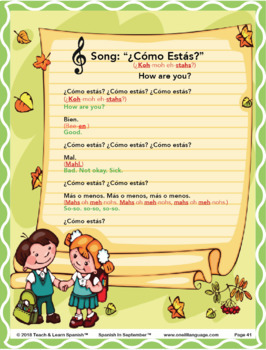 Spanish in September Lesson & CD (Ages 3-8)