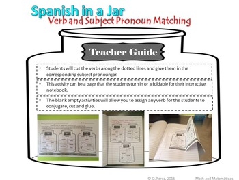 Spanish in a Jar: Present Tense Verb and Subject Agreement Activity ( Español)