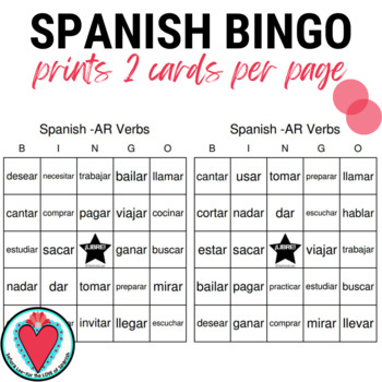 Spanish Verb Bingo: AR Verbs in the Infinitive Form