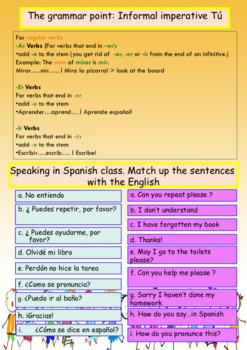 Spanish instrucciones en la clase, classroom instructions booklet for beginners