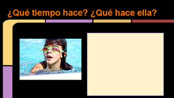Spanish interactive writing presentation to practice Weather and Activities