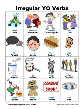 Spanish Irregular YO Verbs PICTURE Notes SET