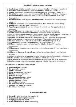 Spanish key verb tenses and complex structures revision & practice