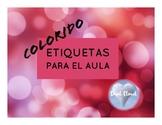 ~ 18 SPANISH labels! 18  Etiquetas Coloridas para el Aula ~