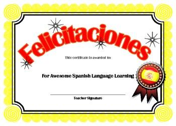 Spanish language Achievement award in Spanish