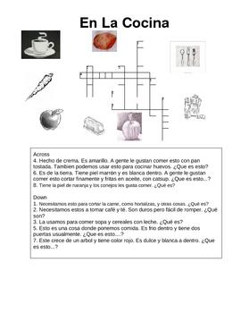 Spanish language crossword En La Cocina