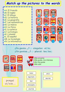 Spanish school subjects, asignaturas full lesson beginners