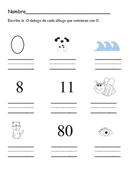 Spanish letter O work sheets