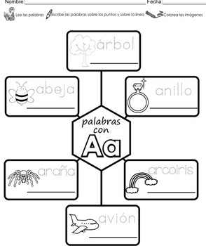 """Spanish letter of the week """"A"""" 8 different center/homework activities"""