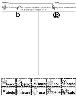 "Spanish letter of the week ""B"" 8 different center/homework activities"