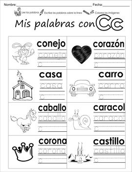 """Spanish letter of the week """"C"""" 8 different center/homework activities"""