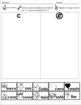 "Spanish letter of the week ""C"" 8 different center/homework activities"