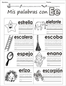 "Spanish letter of the week ""E"" 8 different center/homework"