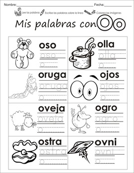 """Spanish letter of the week """"O"""" 8 different center/homework activities"""