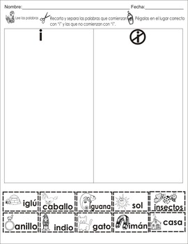"""Spanish letter of the week """"i"""" 8 different center/homework activities"""