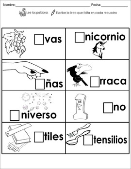 "Spanish letter of the week ""u"" 8 different center/homework activities"