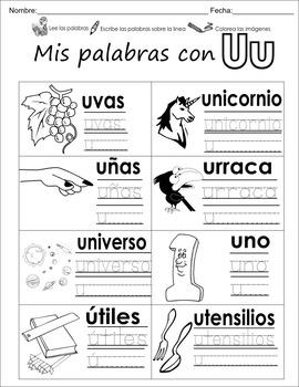 "Spanish letter of the week ""u"" 8 different center/homework"