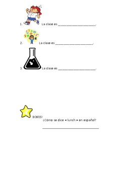 Spanish level 1 quiz classes/schedule (Preuba Realidades 1 2A mis clases)