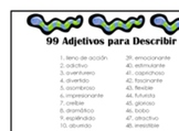Spanish list of 99 adjectives to describe books