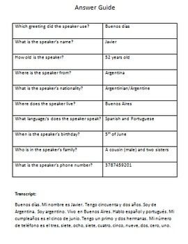 Spanish listening practice - Introduction - audio file and worksheet
