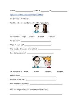 Spanish listening proficiency - Encuestas (worksheet and v