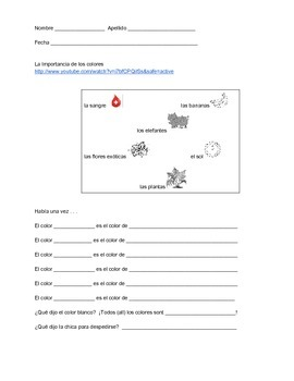 Spanish listening proficiency - La importancia de los colores (worksheet/video)