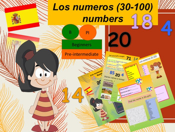 Spanish los numeros 30-100 for beginners, numbers PPT for