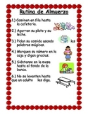 Spanish lunch routine poster