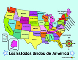 Spanish MAP of the US and Spanish COMPASS ROSE