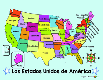 Spanish MAP of the US and Spanish COMPASS ROSE by Apples and Manzanas