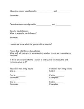 Spanish masculine and feminine noun guided notes and practice