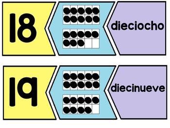 Spanish math game - Matching numbers