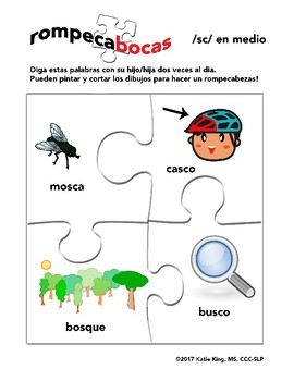 """Spanish medial /s/ clusters, """"S"""" blends. Three articulation worksheets"""