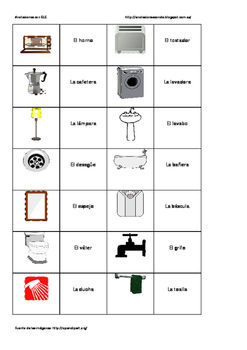 Spanish memory game. Objects in the house