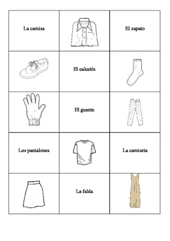 Spanish memory game. The clothes