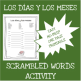 Spanish months and days scrambled words worksheet - Los dí