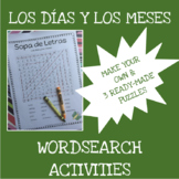 Spanish months and days word search activities - Los días