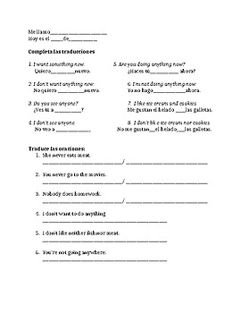 Spanish negative and indefinite words practice activities