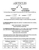Spanish noun article & gender notes