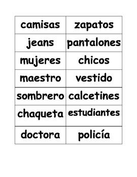 Spanish noun, verb and adjective agreement manipulatives