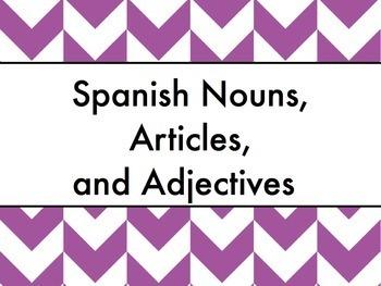 Spanish nouns, articles, & adjectives keynote - Slideshow for Mac, iPad, etc.