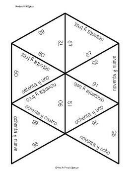 Spanish number puzzle 40-100