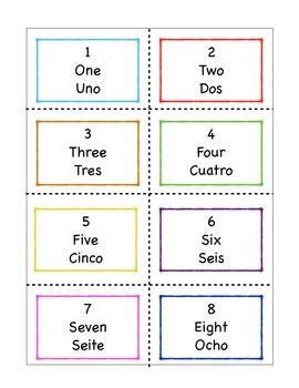 Spanish numbers 0-30 cards