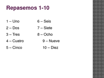 Spanish numbers 1-100 Review